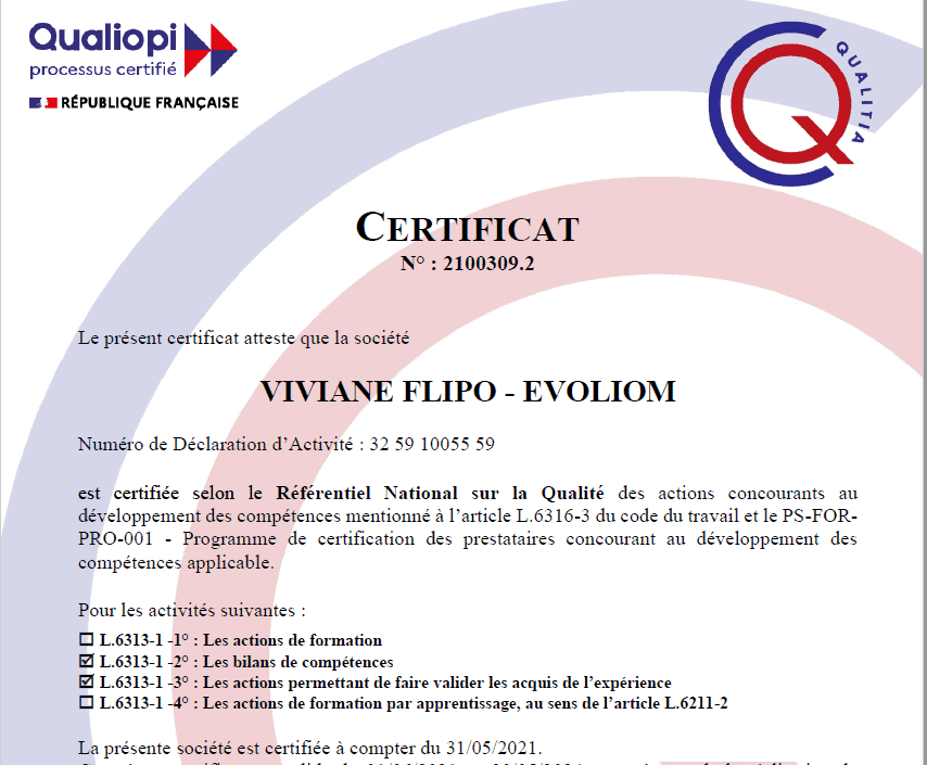 EVOLIOM est certifié selon QUALIOPI !